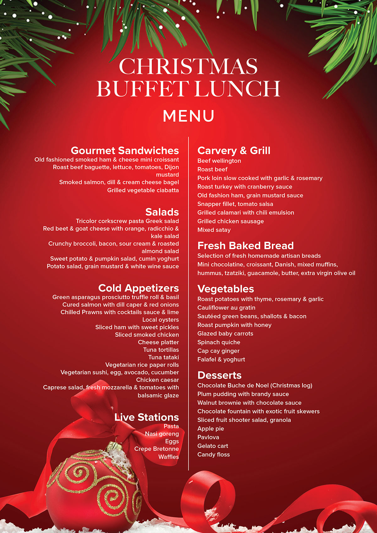 Christmas Day Buffet Lunch » Bistro C Restaurant